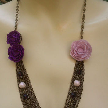 Violet  jewelry - Peony jewelry - Handmade necklace and earrings