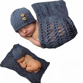 3D 0-6Months Cartoon Infant Shower Warm Handmade Knitted Cute Photography Custume Blanket and Hat Baby Clothing Set