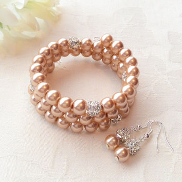 Champagne Gold Bracelet Set Gold Jewelry Champagne Gold Bracelet Bridesmaid Jewelry Wedding