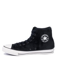 Converse All Star Chuck Taylor Faux Fur Textile Lined Lace Up High Top Fuzzy Sneakers in Black Black White
