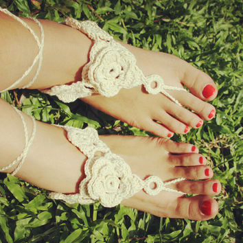 Handmade Flower Crochet Barefoot Sandals ,Nude shoes, Foot jewelry, Wedding, Victorian Lace, Sexy, Yoga, Anklet , Bellydance,Steampunk, Summer Beach Pool,Ethnic,Gift-25