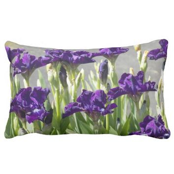 Purple Irises Floral Lumbar Pillow