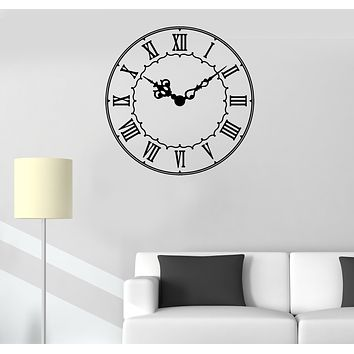Vinyl Wall Decal Clock Time Roman Numerals Room Office Decor Stickers Mural (g193)