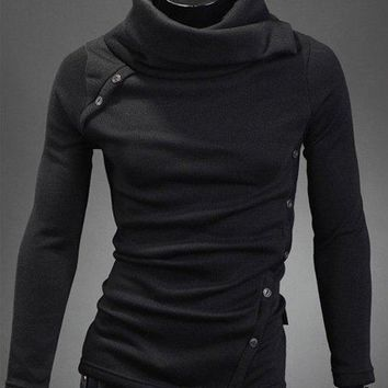 Turtle Neck Oblique Buttons Embellished Sweater - Black - L