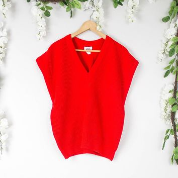 Vintage 70s Red V Neck Knit Blouse