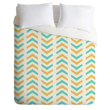 Allyson Johnson Sunshine And Mint Duvet Cover