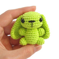 Tiny bunny rabbit - Soft toy - Crochet animal - Amigurumi miniature - Many color options - Lime green - MADE TO ORDER