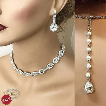 Silver Teardrop Crystal Bridal Jewelry Set