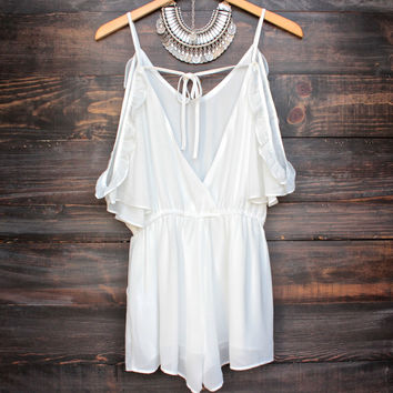 open back peek a boo shoulder romper - white
