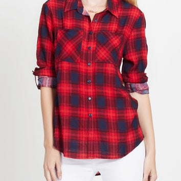 LE3NO Womens Lightweight Plaid Button Down Shirt with Roll Up Sleeves