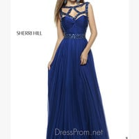 Sleeveless Beaded Cut Out Neckline Formal Prom Gown By Sherri Hill 4806