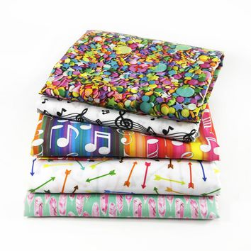 50*145CM fabric Sewing Tools school letting music Polyester&cotton for Tissue Kids Bedding home textile for Sewing Doll,c586