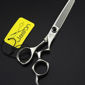 New Arrived JP440C 6.0Inch Thinning Scissors,Professional Hair Shears with Curved Handle for Salon Barbers,1Pcs LZS0531
