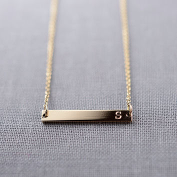 Solid 14K Gold Initial Bar Necklace