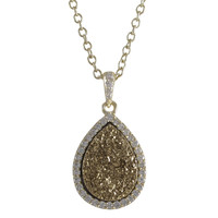 Champagne Druzy Teardrop Gold Plated Sterling Silver Pendant
