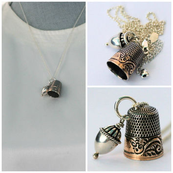 Peter Pan Thimble and Acorn Hidden Kiss Necklace Solid Sterling Silver Peter Pan and Wendy