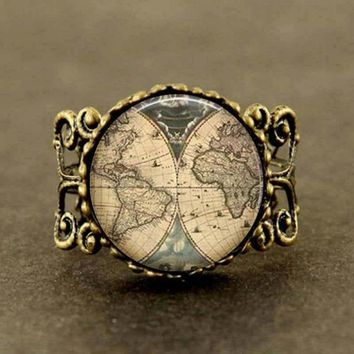 Movie Alice in Wonderland Ancient World Map explorer Map Pirate treasure map Expedition ring Jewelry