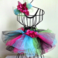 Pink, black, green, & blue tutu and headband set