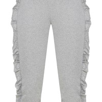 Grey Marl Cropped Side Frill Joggers