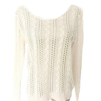 Women Fall Knitted Sweaters Long Sleeve Backless Heart Shape Pullovers and Sweaters Female O Neck Beige Thin  Sweater GS