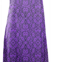 Violet Purple Lace Print Slip Dress