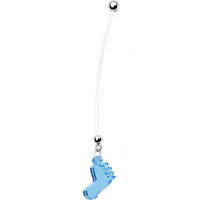Light Blue Lucite Baby Foot Pregnant Belly Ring | Body Candy Body Jewelry