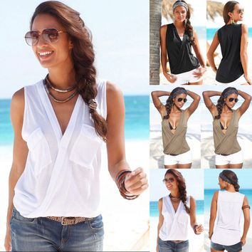 Women'S Pocket V-Neck Sleeveless T-Shirt