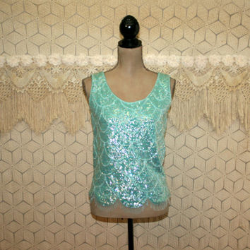 Vintage 60s Beaded Tank Top Sequin Cocktail Blouse Party Evening Sexy Aqua Blue Beaded Fringe Hong Kong Small Medium Womens Vintage Clothing