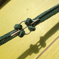 Green Arrow / Oliver Queen inspired Faux Suede and Silver Arrow bracelet