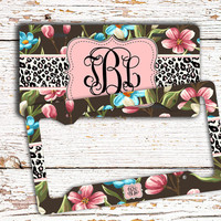 Pretty car accessories, Customized auto license plate or frame, Floral cheetah, Girly Car tag, Monogram bike license Black pink blue  (1435)