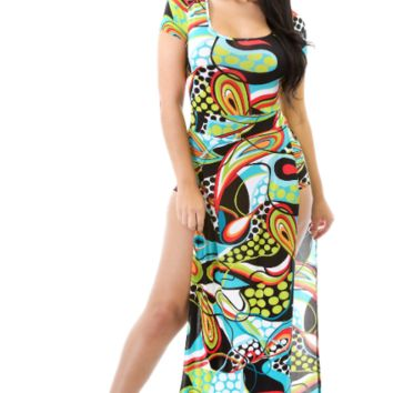 Abstract Duo Split Maxi Dress
