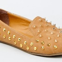 Nature Breeze LEILA-13 Spiked Edgy Slip On Loafer Flat Shoe