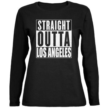 Straight Outta Los Angeles Black Womens Long Sleeve T-Shirt