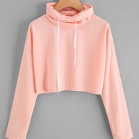 High turtle neck crop sweatshirt