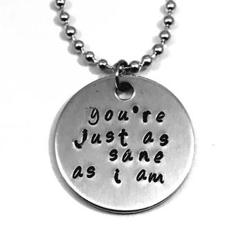 Harry Potter Luna Lovegood Quote Hand Stamped Aluminum Necklace