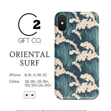 Blue Oriental Surf - Heavy Duty Shock Absorption Phone Case Cover For Iphone X, Xr, Xs, 8, 8+ & Samsung Galaxy S10, S10+, S9, S9+, S8, S8+