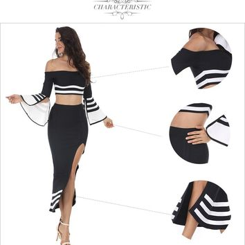 Two Piece Set Bandage Dress Black White Patchwork Slash Neck Fishtail Cut Out Midi