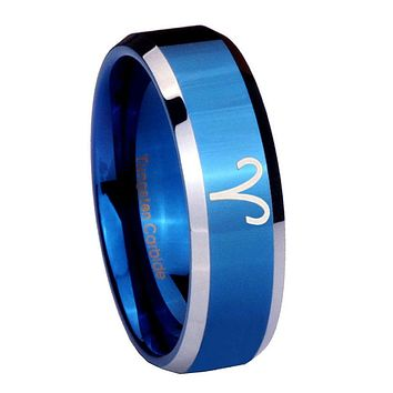 8MM Shiny Blue Aries Zodiac Bevel Edges 2 Tone Tungsten Laser Engraved Ring