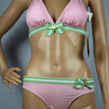 Juicy Couture Fashion Halter Brassiere Underpant Set Two-Piece Bikini-1
