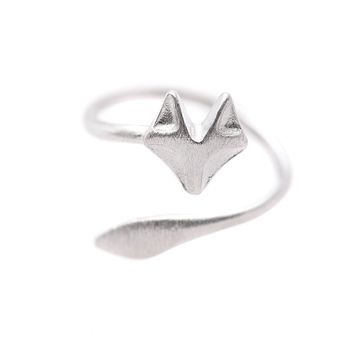 Sterling Silver Handcrafted Brushed Metal Fox Head Ring