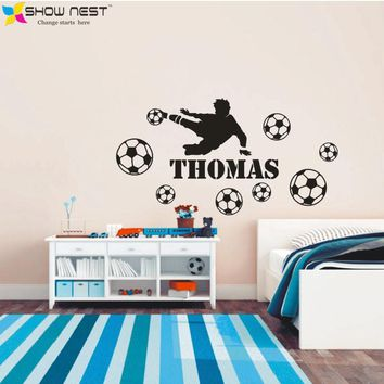Football Player And Custom Kids Name Bedroom Wall Art Decor Wall Sticker For Kid's Boy Room Fashion Home Decoration Decals - HOT