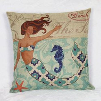 Colorful Mermaid Pattern Linen Decorative Pillowcase (Without Pillow Inner)