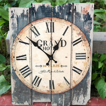Antique Art Wall Clock Wood Vintage Clock Retro Rustic Home Office Cafe Bar Decor