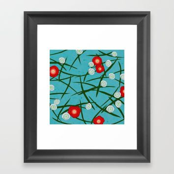 Japenese Water Flowers Pattern Framed Art Print by oursunnycdays