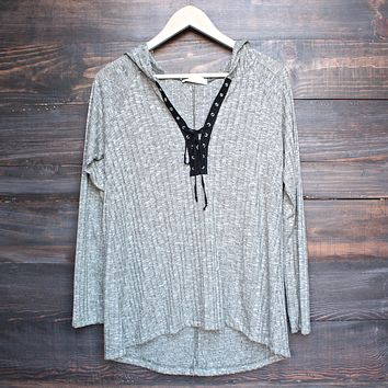 lace-up front lightweight sweater shirt