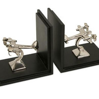 2 Airplane Bookends - Black Wooden Base