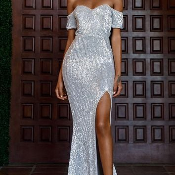 Best Love Silver Sequin Short Sleeve Off The Shoulder Sweetheart Neck Slit Maxi Dress