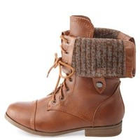 Sweater-Lined Fold-Over Combat Boots by Charlotte Russe - Cognac
