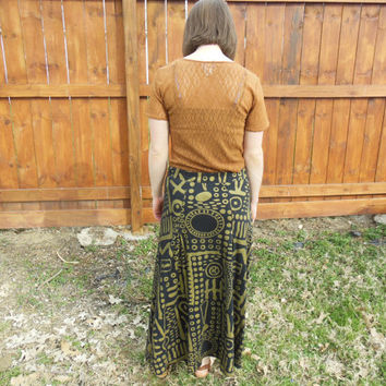 Vintage 1990's black maxi skirt with taupe/gold abstract design.  boho//gypsy