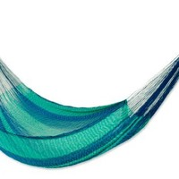 NOVICA Nylon Green and Bright Blue Striped Rope Hammock 'Cool Lagoon' (Double)